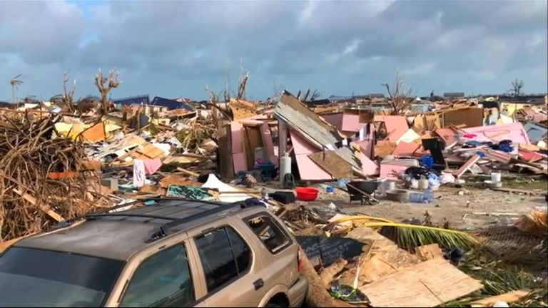 Destroyed homes, fallen trees and piles of plywood is all that's left of a Bahamas shantytown decimated by Hurricane Dorian.