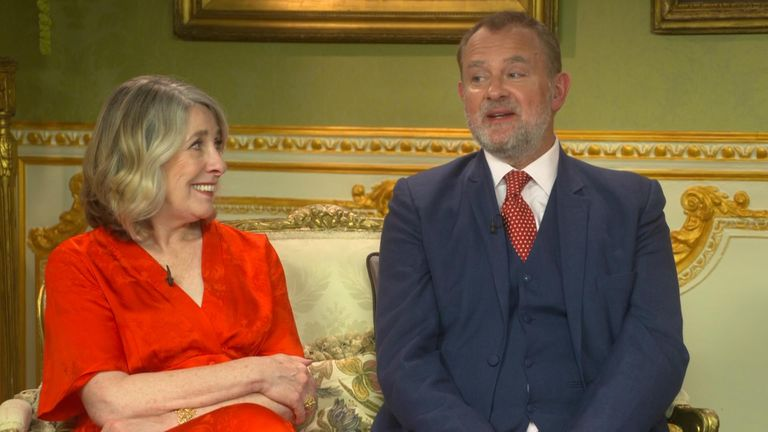 Phyllis Logan and Hugh Bonneville, who play Elsie Carson and Robert Crawlwy, Earl of Grantham