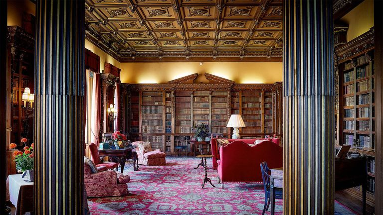 The library at Highclere Castle in Hampshire, the home of Downton Abbey, which is being made available for a one-off stay through accommodation booking website Airbnb
