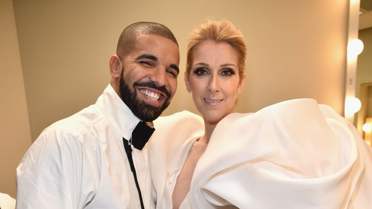 Drake and Celine Dion attend the 2017 Billboard Music Awards at T-Mobile Arena on May 21, 2017 in Las Vegas, Nevada