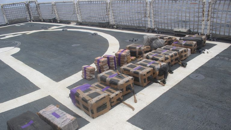 The drugs are thought to be worth hundreds of millions of dollars. Pic: US Coastguard