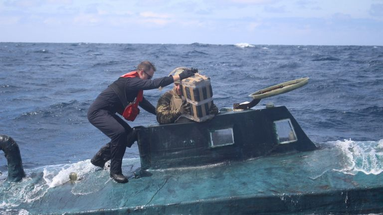 The submarine contained nearly five tonnes of drugs. Pic: US Coastguard