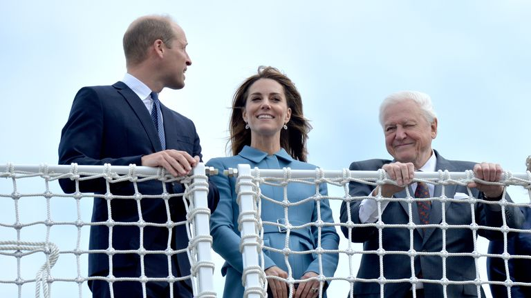 The Duke and Duchess of Cambridge join Sir David Attenborough at the ship's naming ceremony