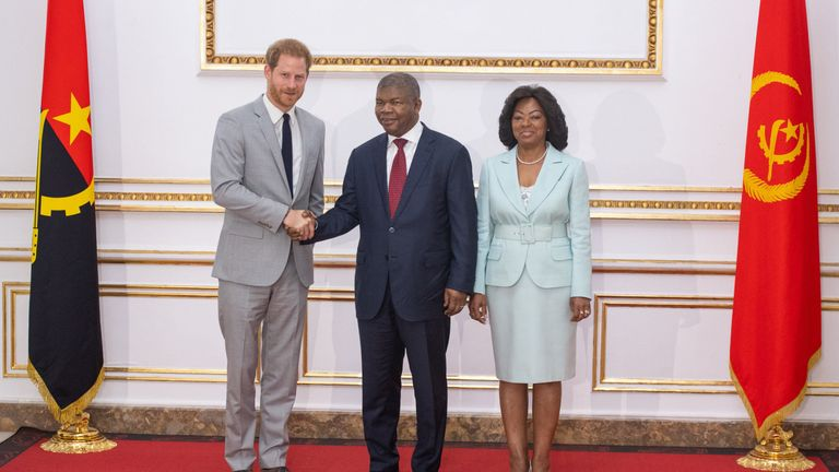 While Meghan met activists in Cape Town, Prince Harry met Angolan president Joao Lourenco and his wife, Ana Dias Lourenco at the presidential palace in Luanda, Angola