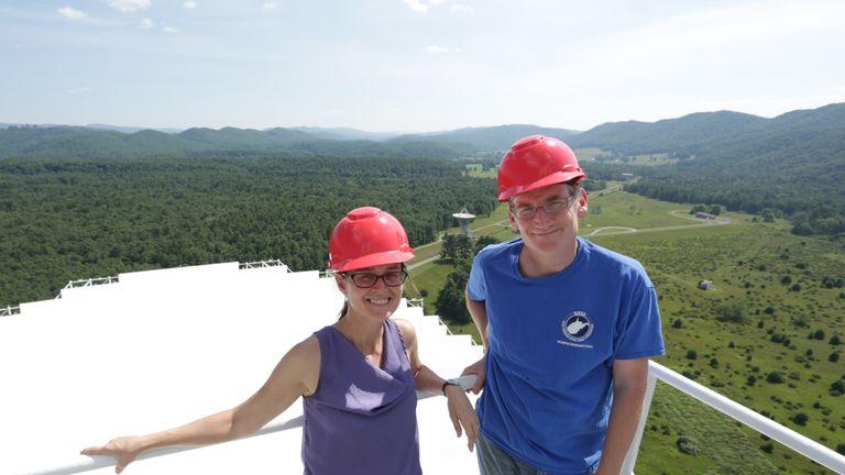 WVU physics professors Duncan Lorimer and Maura McLaughlin at the Green Bank Telescope. Pic: Scott Lituchy/West Virginia University