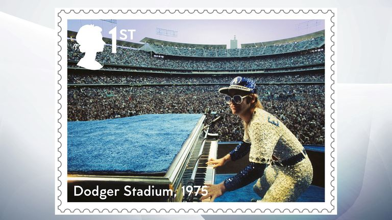 Elton John performed at the Dodger Stadium in Los Angeles in 1975