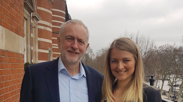 Emily Owen with Labour leader Jeremy Corbyn