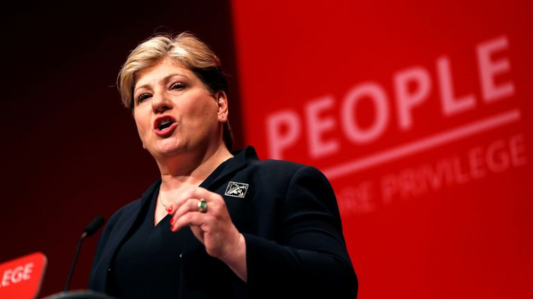 Shadow Foreign Secretary  speaks during the Labour party annual conference in Brighton