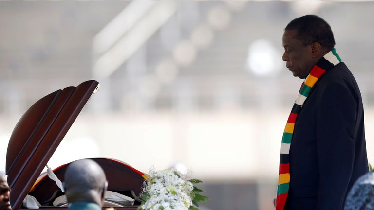 President Emmerson Mnangagwa pays tribute to the former leader