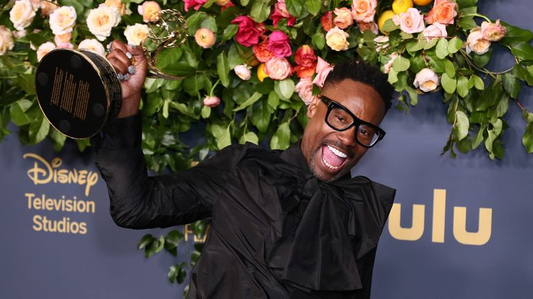 Billy Porter with his Emmy for best leading actor in a drama