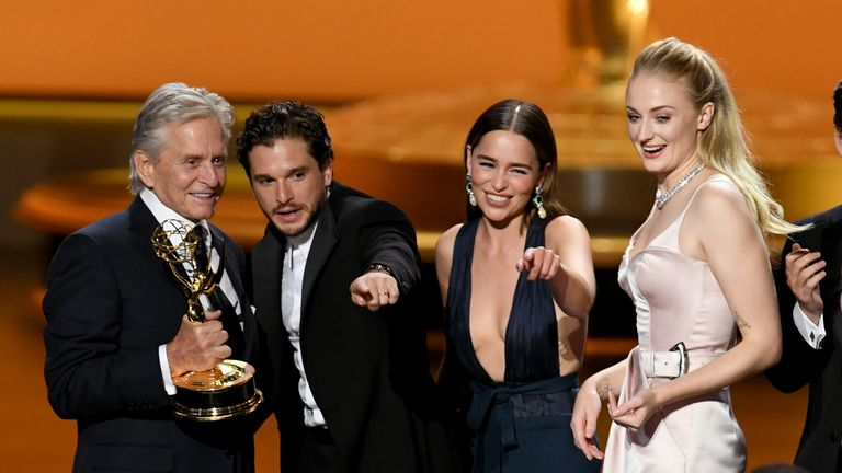 Game Of Thrones stars Kit Harington, Emilia Clarke and Sophie Turner on stage with Michael Douglas at the Emmys