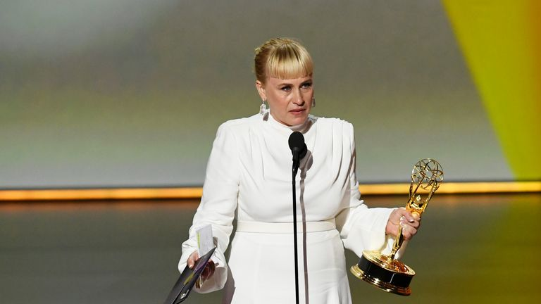 Patricia Arquette on stage at the Emmys