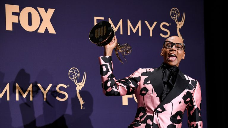 RuPaul poses with award for Outstanding Competition Program in the press room during the 71st Emmy Awards at Microsoft Theater on September 22, 2019 in Los Angeles