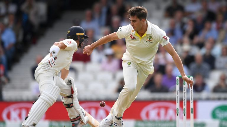 at Cummins of Australia stops the ball with his foot during day one of the 5th Specsavers Ashes Test between England and Australia at The Kia Oval on September 12, 2019 in London, England. (Photo by Gareth Copley/Getty Images)