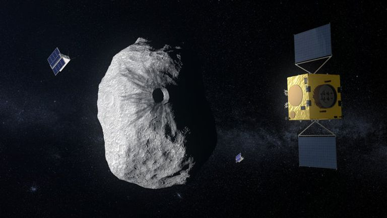 ESA's Hera mission concept, currently under study, would be humanity's first mission to a binary asteroid: the 780 m-diameter Didymos is accompanied by a 160 m-diameter secondary body. Hera will study the aftermath of the impact caused by the NASA spacecraft DART on the smaller body.