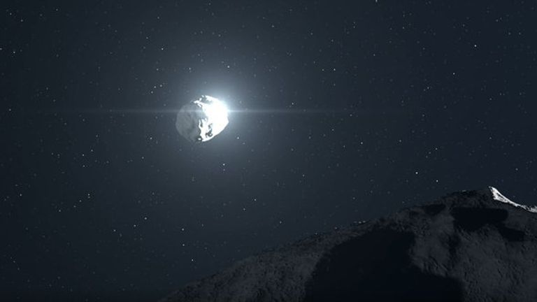 The smaller Didymos asteroid being hit by NASA craft DART, as envisaged by the ESA