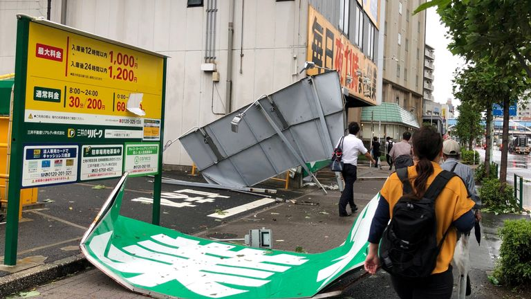 Collapsed steel advertising boards caused by Typhoon Faxai are seen at Edogawa ward in Tokyo, Japan September 9, 2019