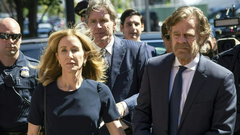 Felicity Huffman and her husband William H. Macy were pictured on their way into court earlier