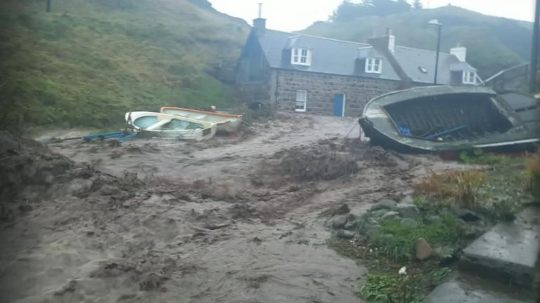 Flash flooding in Crovie, Scotland