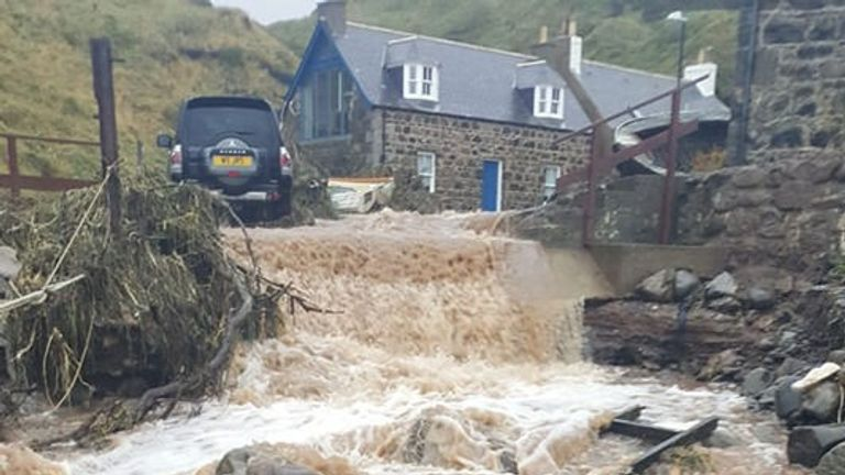 Torrential rain brought flooding to Crovie in Aberdeenshire
