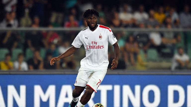 Franck Kessie during the Serie A match between Hellas Verona and AC Milan at Stadio Marcantonio Bentegodi on September 15, 2019 in Verona, Italy.