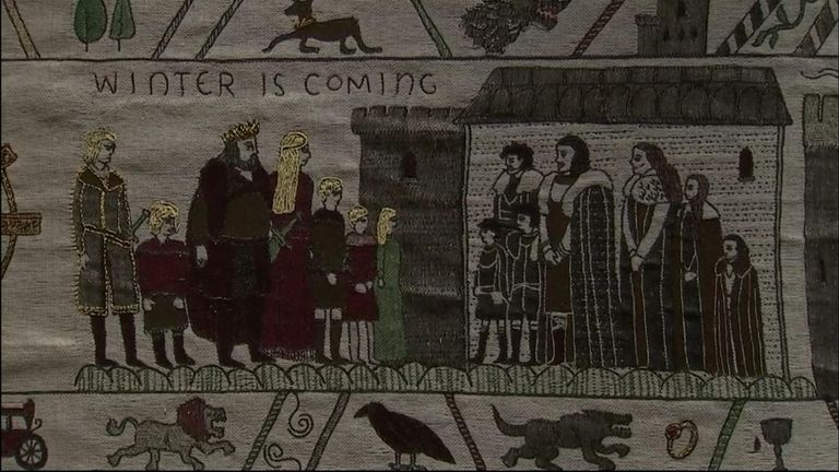 A 90-metre hand-embroidered tapestry telling the story of Game Of Thrones has been transported to the home of one of the most famous tapestries in the world.