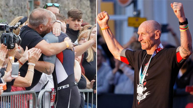 Gareth Thomas hugs his husband