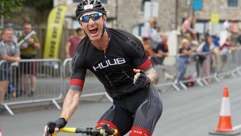 Gareth Thomas taking part in Iron Man in Wales