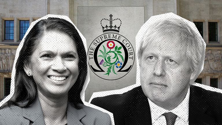 Gina Miller and Boris Johnson
