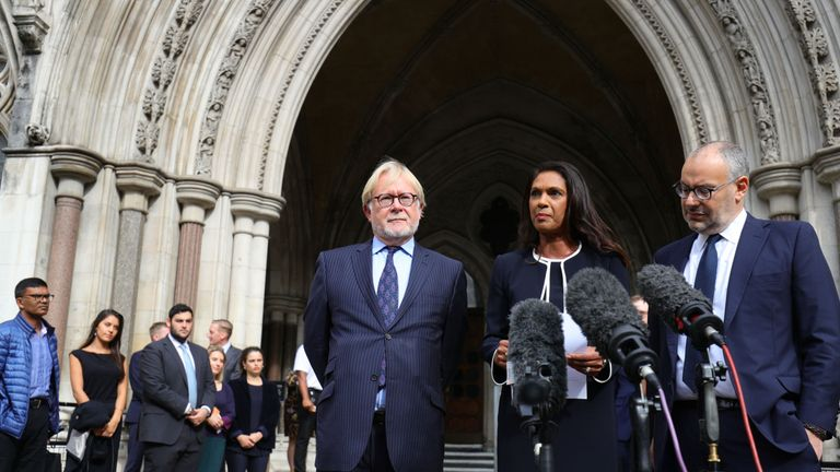 Anti Brexit campaigner Gina Miller makes a statement outside the Royal Courts of Justice