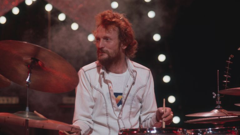 British drummer Ginger Baker, a member of Cream, Hawkwind and Blind Faith, amongst others, circa 1975