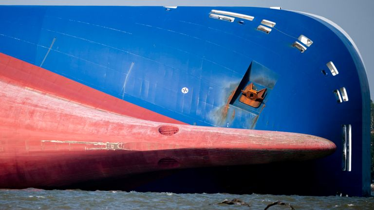 The bow of the Golden Ray cargo ship as it lays on its side after capsizing near the Port of Brunswick, Ga., on the Georgia coast