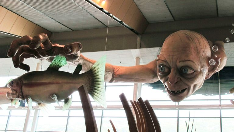 A giant sculpture of Gollum at  Wellington Airport