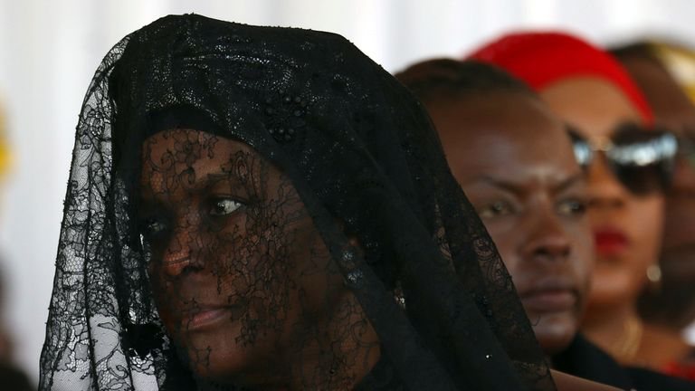 Grace Mugabe, widow of former Zimbabwean President Robert Mugabe, attends a church service before his burial at his rural village in Kutama, Zimbabwe, September 28, 2019