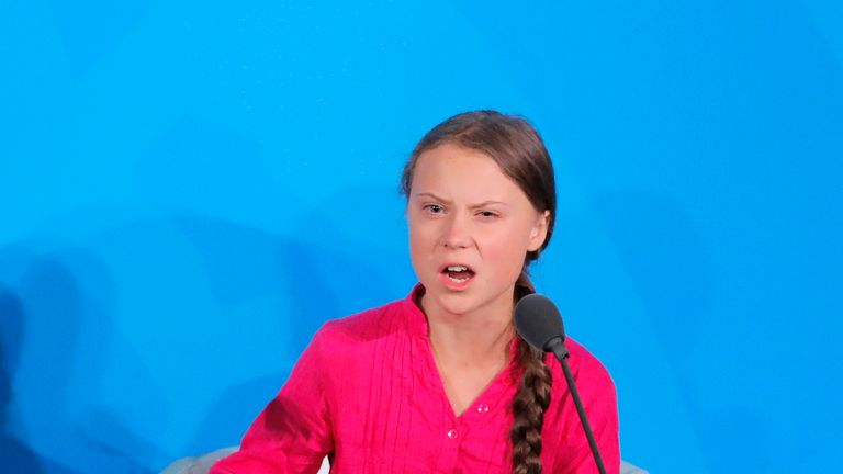 16-year-old Swedish Climate activist Greta Thunberg speaks at the 2019 United Nations Climate Action Summit at U.N. headquarters in New York City, New York, U.S., September 23, 2019. REUTERS/Lucas Jackson