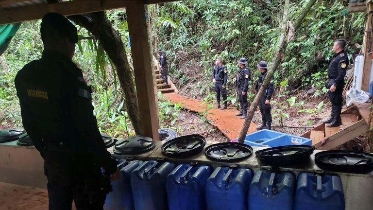 An operation to dismantle a coca processing lab in Izabal, Guatemala