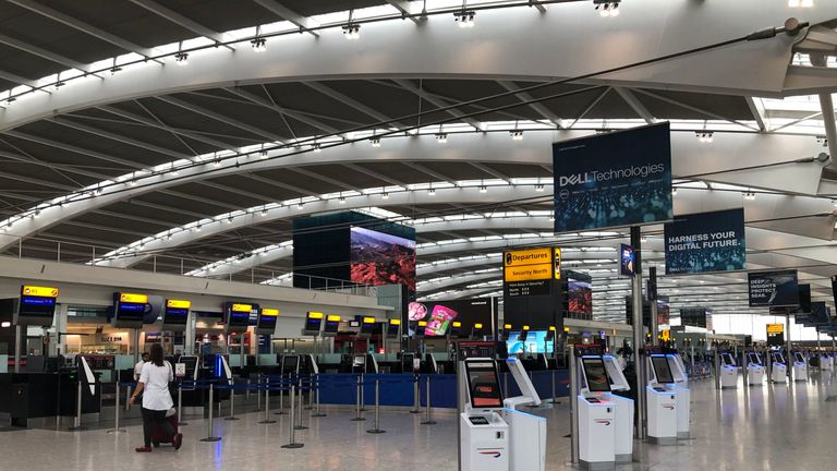 The Terminal 5 concourse unusually empty on Monday