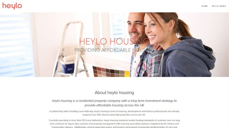 Still of Heylo Homes website