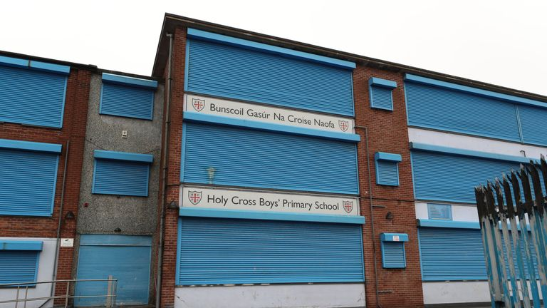 Holy Cross Boys' Primary School in north Belfast has been closed after an improvised weapon was discovered in the playground