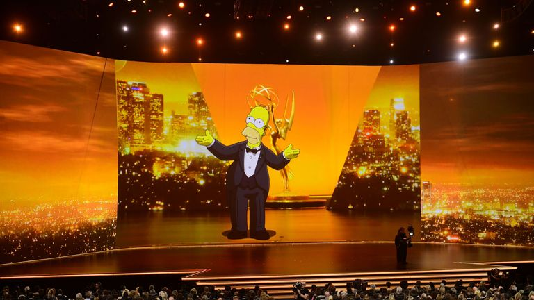 Homer Simpson opens the Emmy Awards