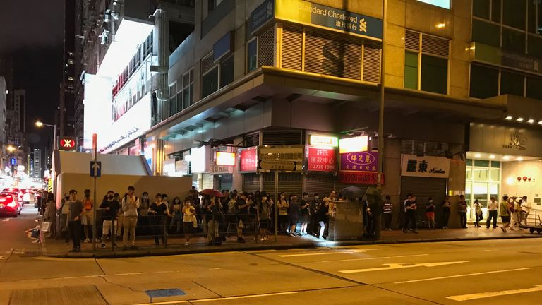 Protesters outside a police station in Mong Kok