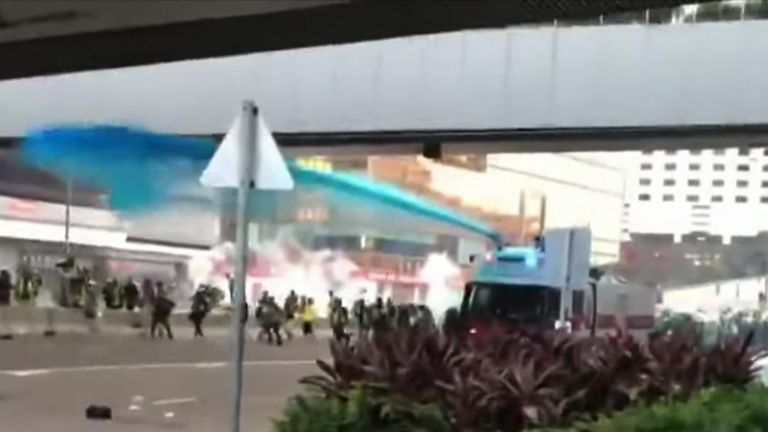 Police fired blue dye at protesters in Hong Kong