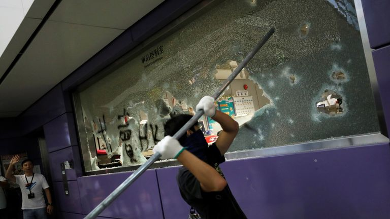 Anti-extradition bill protesters smash Mass Transit Railway (MTR) facility as they accuse the railway operator for helping the government to catch protesters, at Tung Chung, in Hong Kong, China September 1, 2019.
