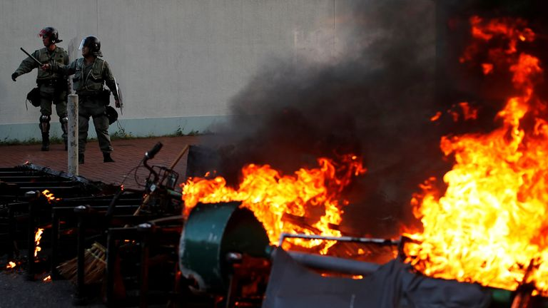 A barricade on fire set by anti-government protesters