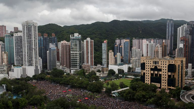 Protesters attend a rally in Victoria Park in Hong Kong, China on 18 August