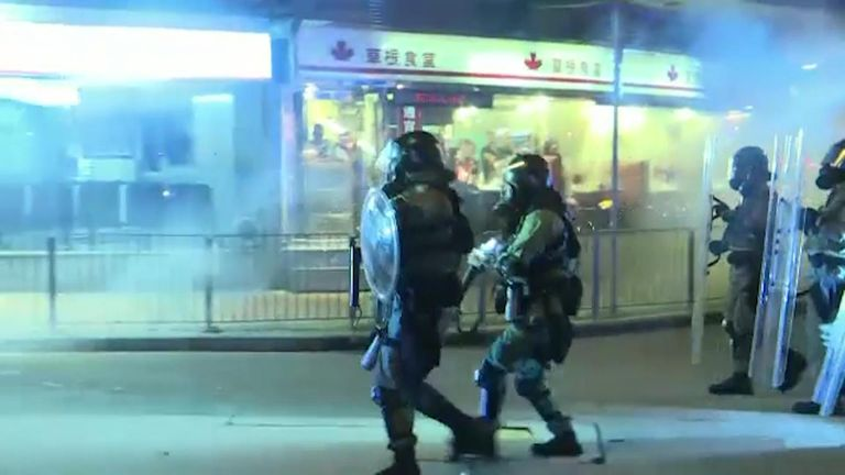 Hong Kong police in riot gear