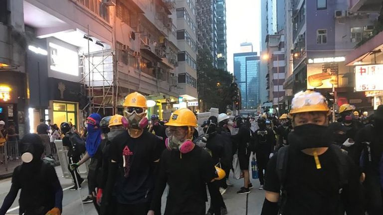 Protesters marched through Hong Kong