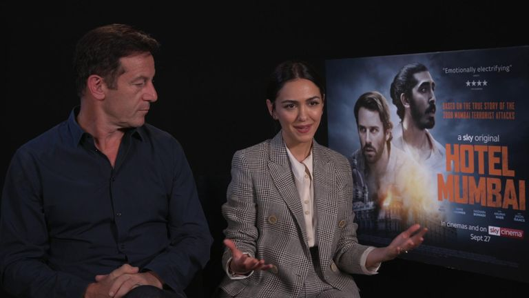 Jason Isaacs and Nazanin Boniadi, stars of Hotel Mumbai, speak to Sky News before the release of the film on September 27th