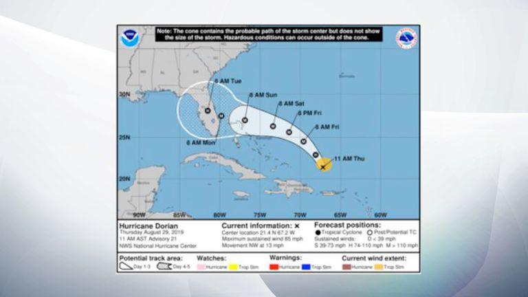 NOAA Hurricane Dorian map