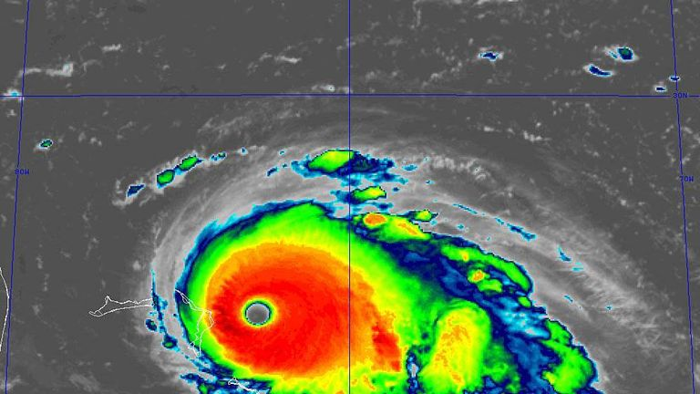Hurricane Dorian could bring winds of up to 160mph to the Bahamas, with many taking shelter. Pic: National Hurricane Centre